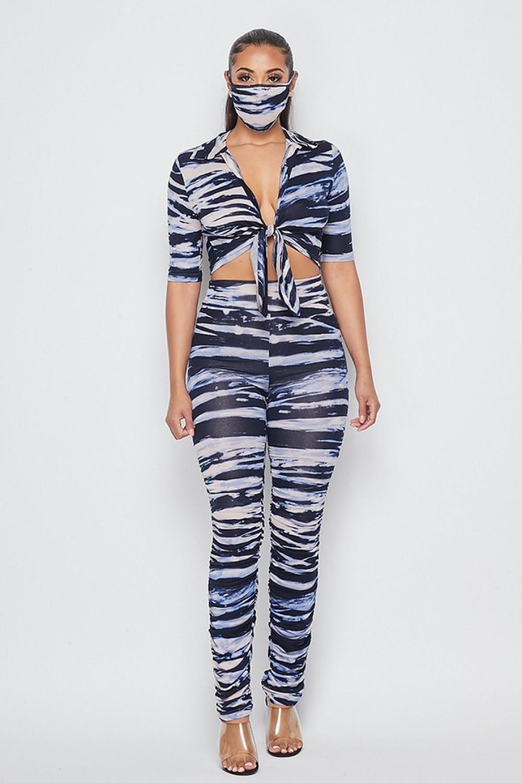 1231-73<br/>3 Piece set zebra print top & legging and mask set.