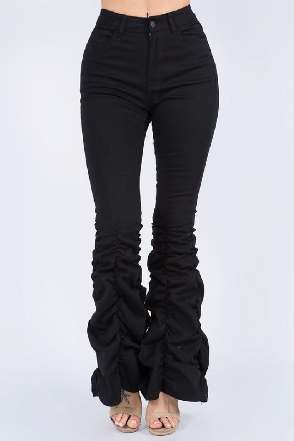 5TH1027<br/>Plus Size High Waist Shirred Bottom Jeans.
