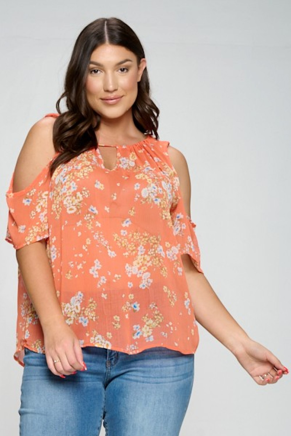 5TH1295<br/>Plus Size Soft Chiffon Flower Print Top.