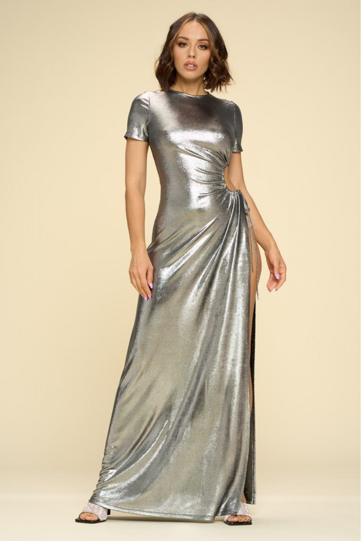 5TH2615<br/>Shine Bright Like A Diamond Maxi Dress, Sexy Side Cutout, and Thigh High Slit