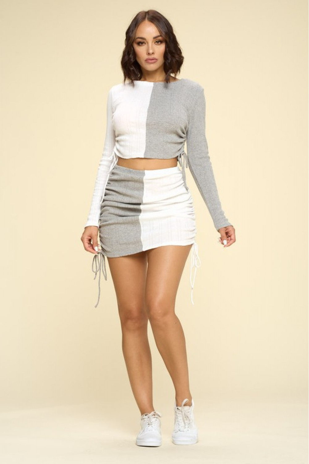 5TH2618<br/>Contrast Color Summer Set, Long Sleeves Crop Top, Ruched Side Drawstrings Mini Skirt