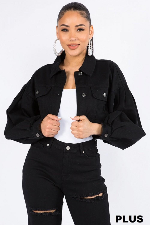 5TH4028<br/>Plus Size Balloon Sleeve Crop Denim Jacket