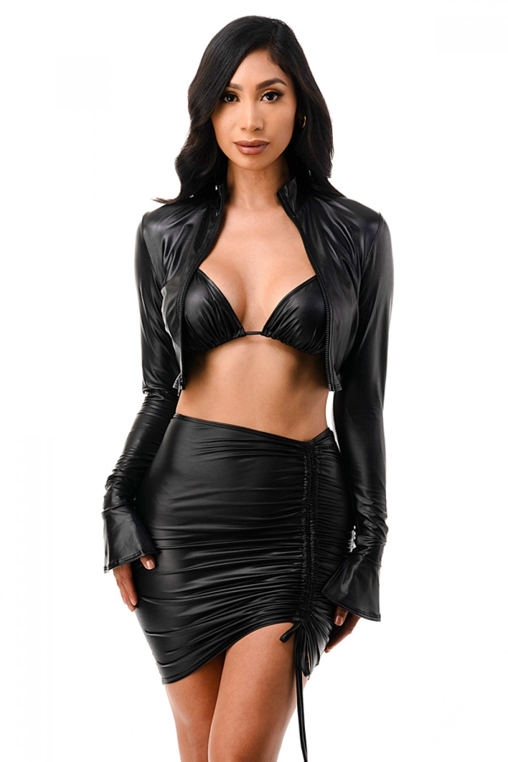 5TH4089<br/>Faux Leather Zip Up Cropped Long Sleeve Jacket, Bra Top And Ruched Mini Skirt 3 Pcs Set