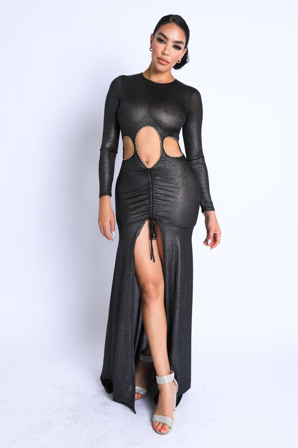 5TH4093<br/>Glitter Shirring Detailed Slit Cut Out Maxi Dress
