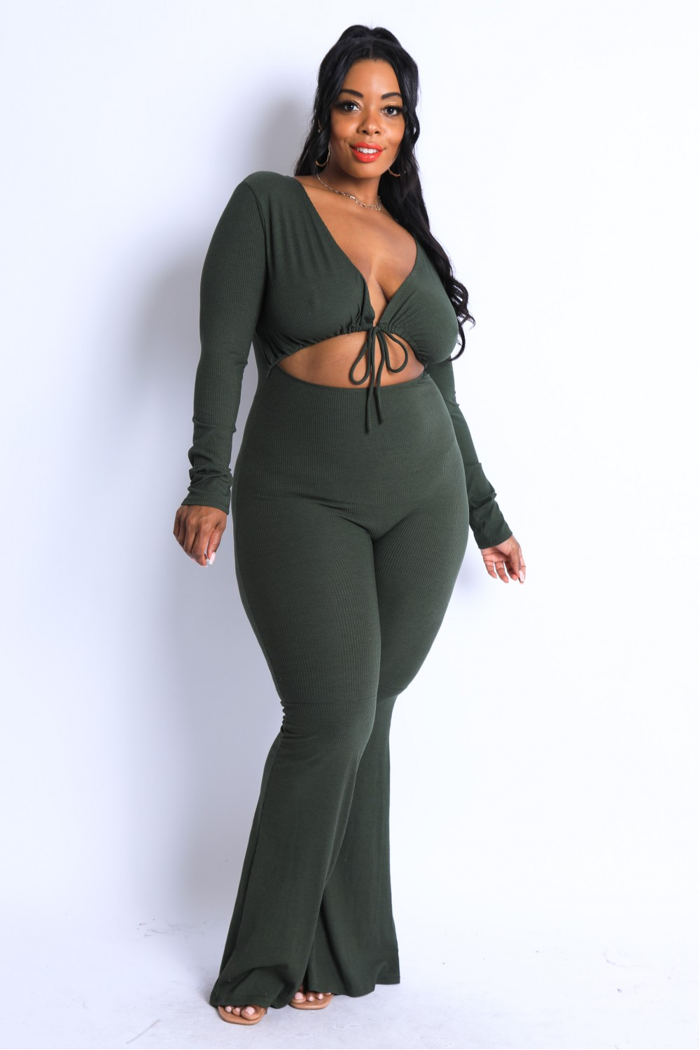 5TH4094<br/>Plus Size Front tie detailed flared leg jumpsuit